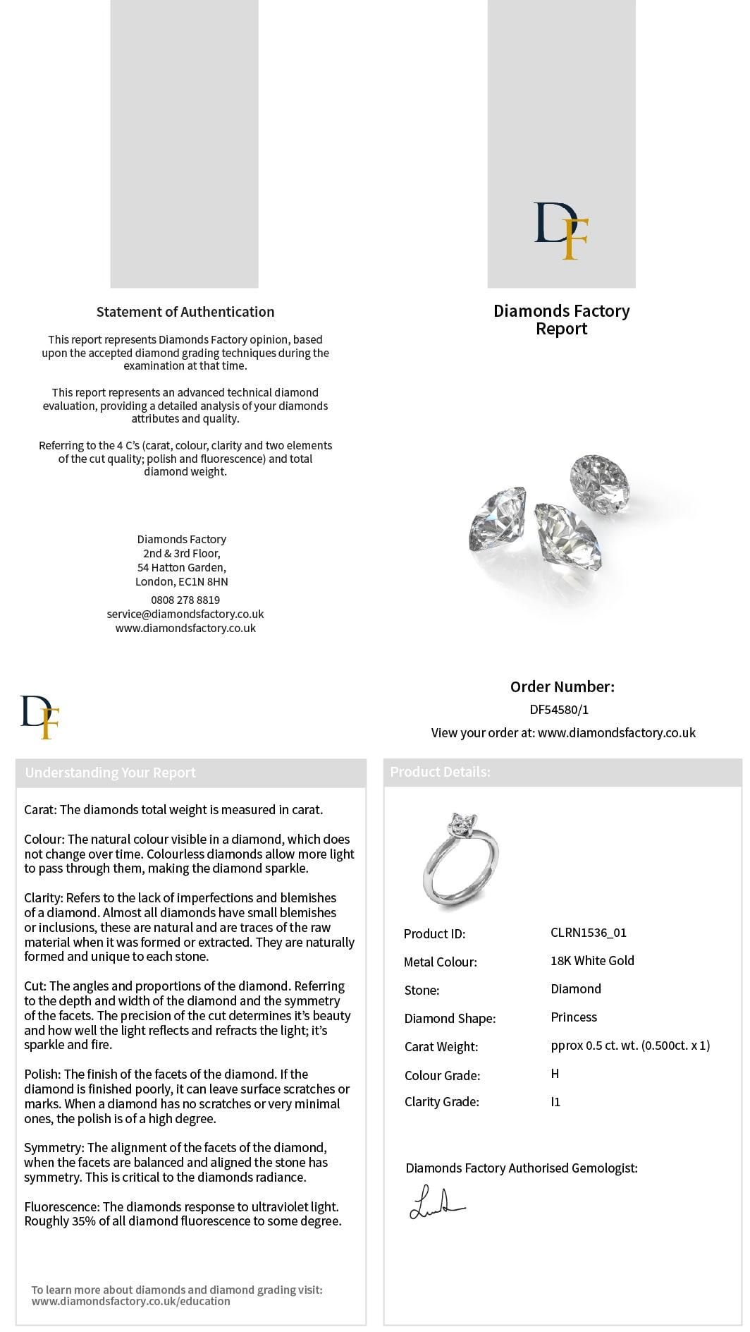 Diamond Certification By Diamonds Factory Uk