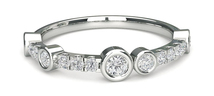 Full Bezel Setting Half Eternity Diamond Ring