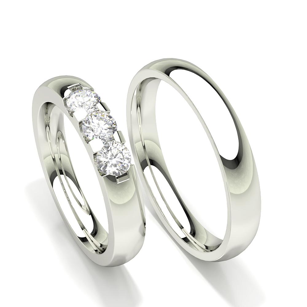 Alliance pour femme cloutée à trois diamants