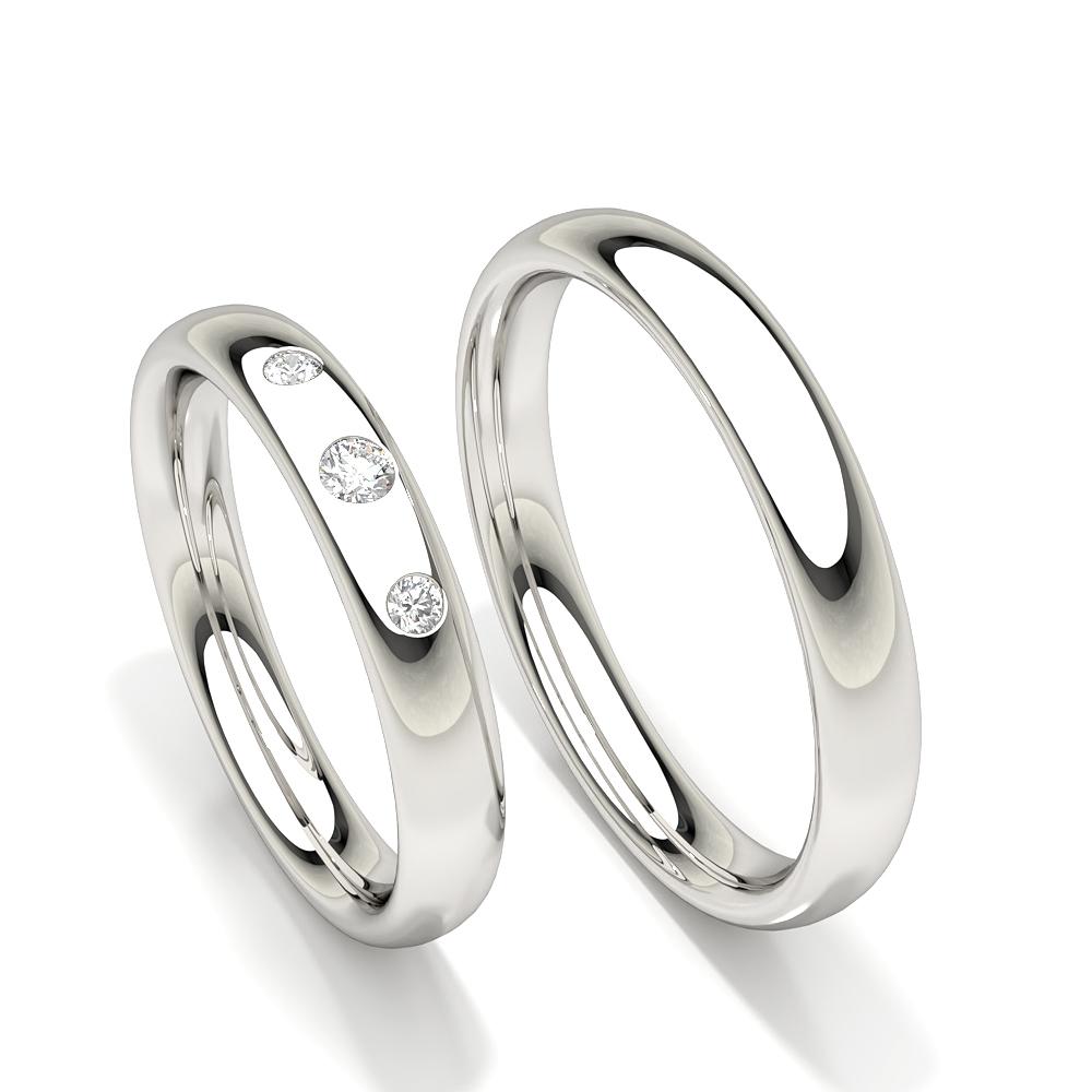 Alliance à trois diamants en pierre cloutée pour femme