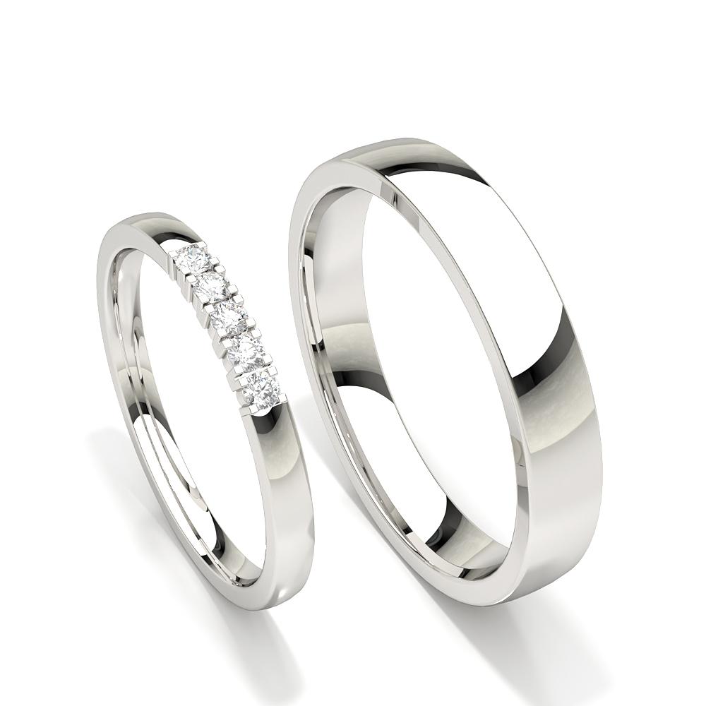 Alliance pour femme diamant clouté à cinq pierres