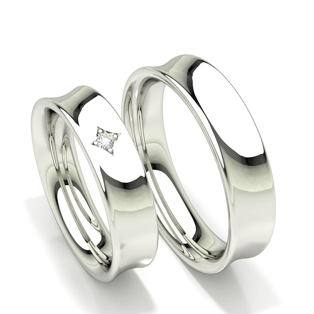 Alliance pour femme à profil concave avec diamants cloutés