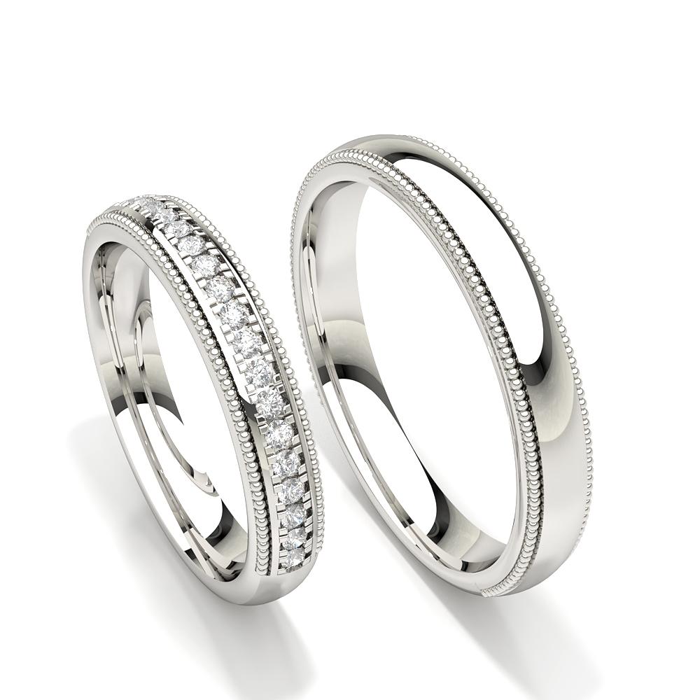 Alliance pour femme avec motif millegrain clouté de diamants