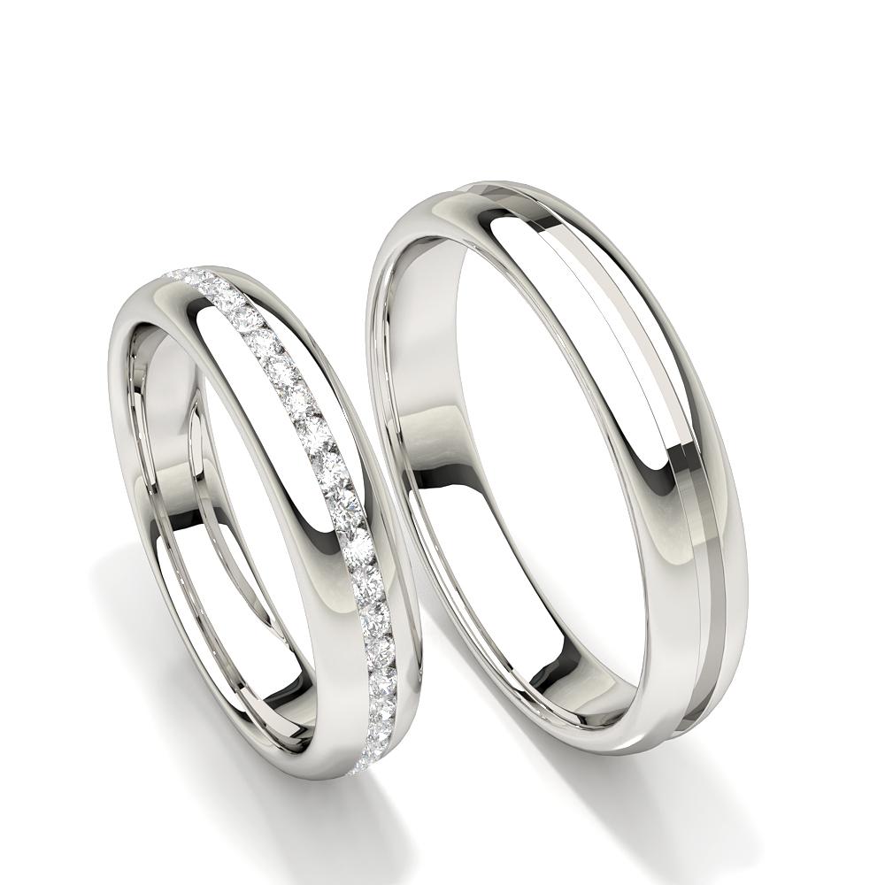 Bague de mariage pour femme à coupe confortable et diamant
