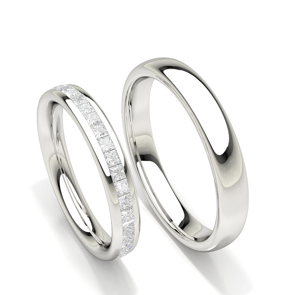 Bague de mariage pour femme avec diamant princesse