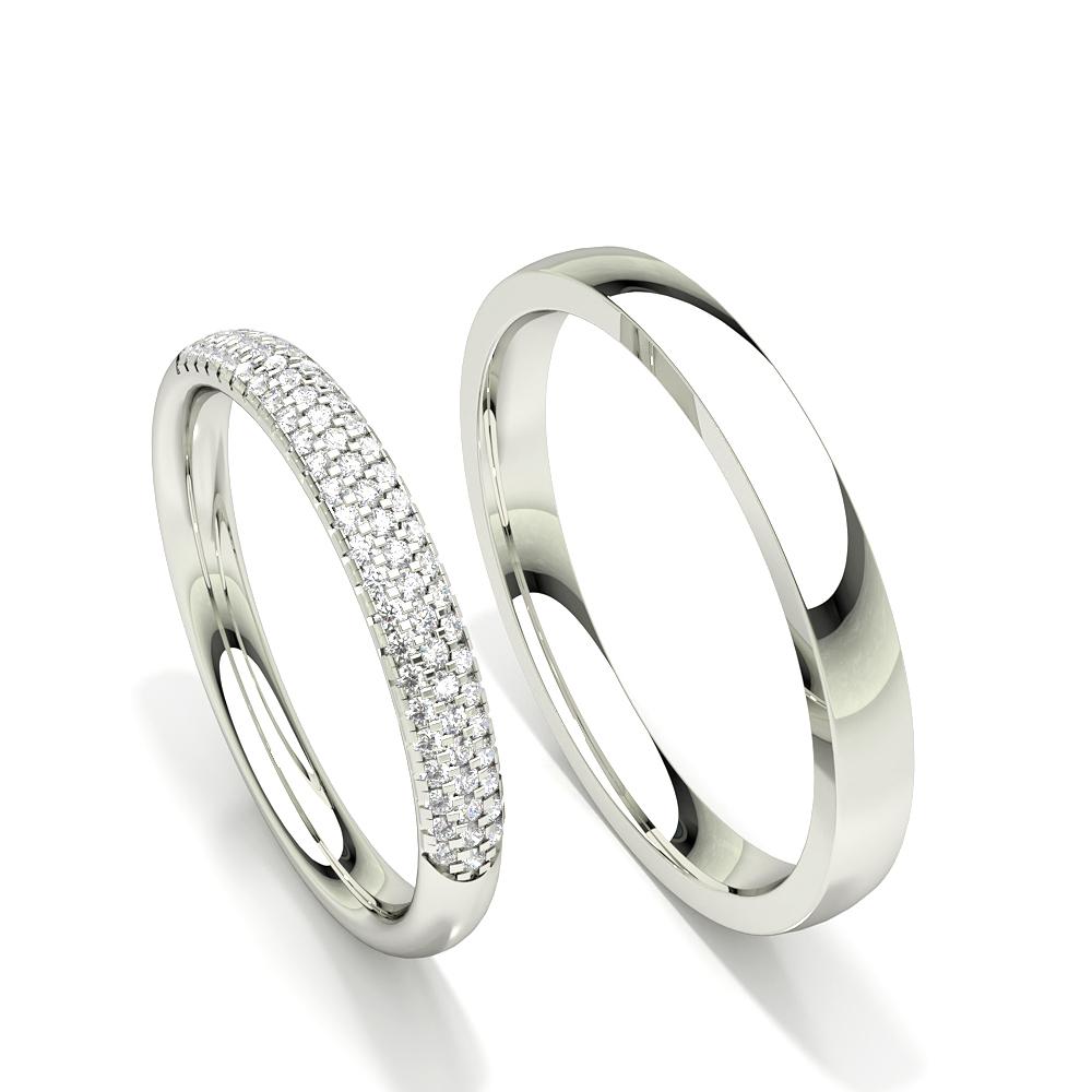 Alliance diamant rond serti griffes pour femme