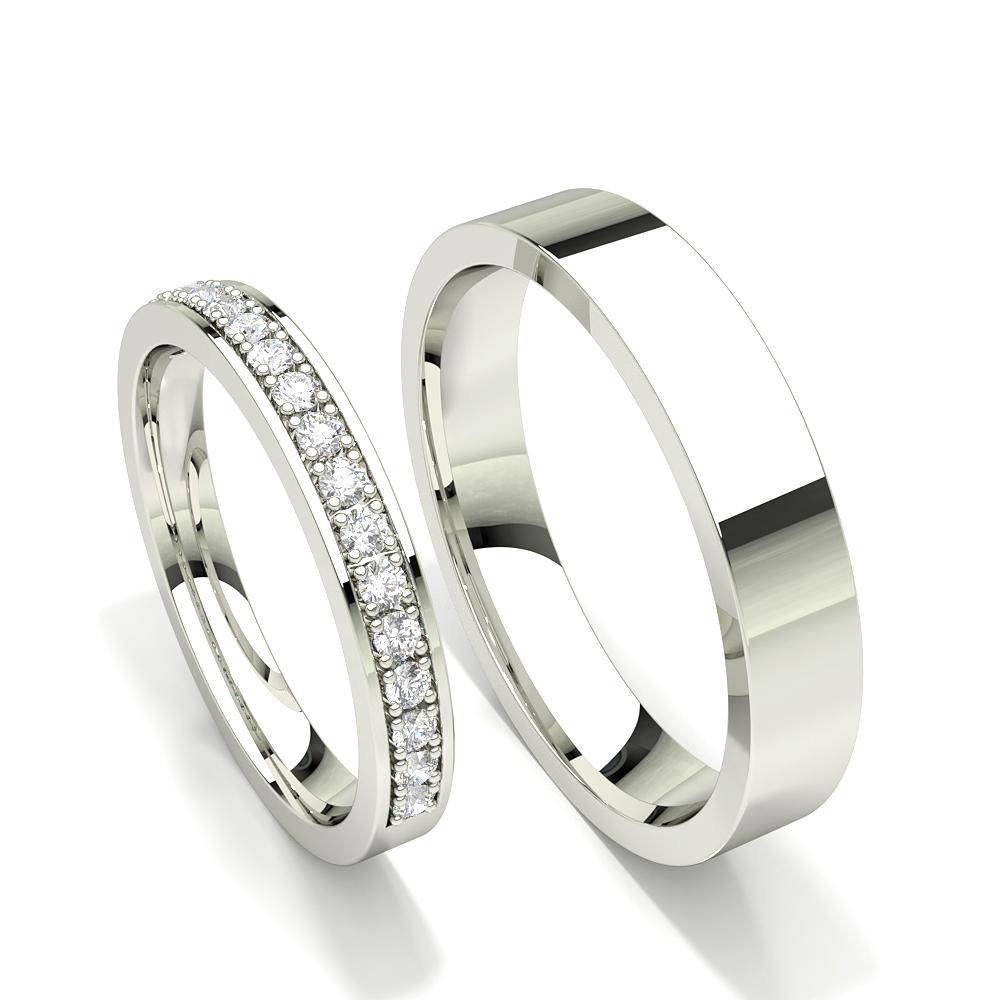 Zinken gesetzt runder Diamant Damen Ehering