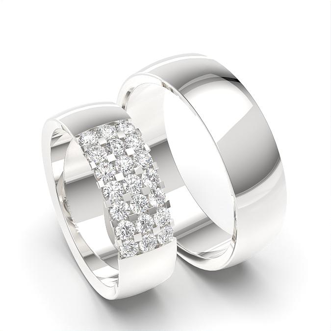 Diamant besetzt Damen- und Herrenhochzeits-Passende Band