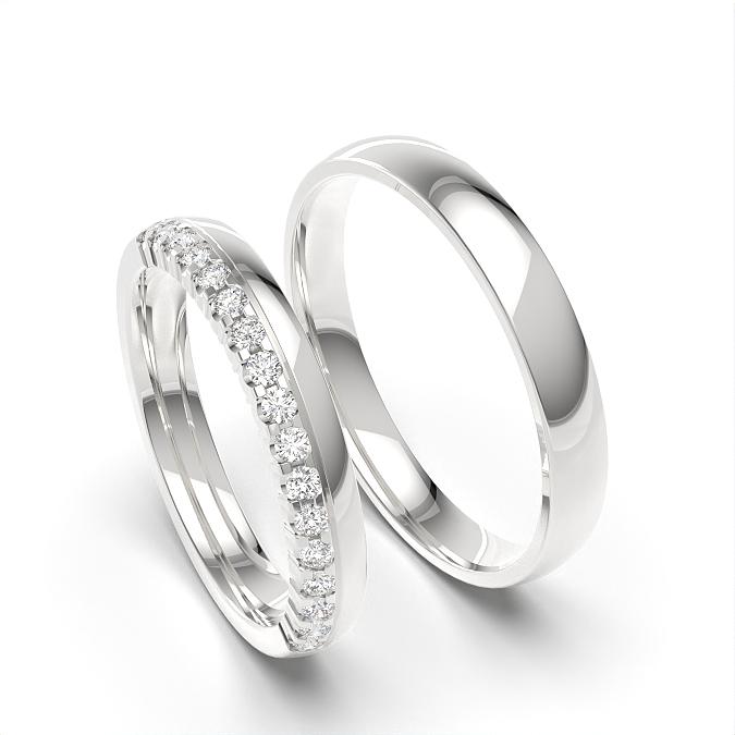 Diamant besetzt und schlicht Matching Band für Damen und Herren