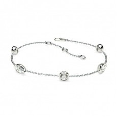 0.90ct. Full Bezel Setting Round & Pear Diamond Delicate Bracelet