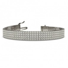 Four Row Prong Setting Princess Diamond Tennis Bracelet