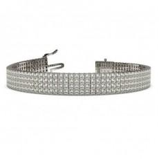 Four Row Prong Setting Princess Diamond Tennis Bracelet