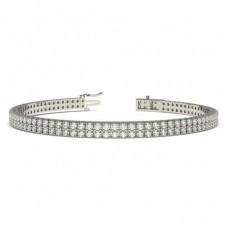 Two Row Pave Setting Round Diamond Tennis Bracelet