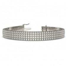 Four Row Pave Setting Round Diamond Tennis Bracelet
