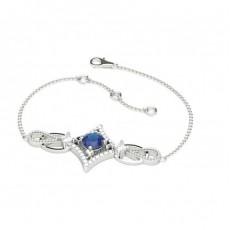 4 Prong Setting Blue Sapphire Delicate Bracelet