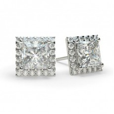 White Gold Princess Diamond Halo Earring