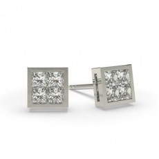 White Gold Princess Diamond Cluster Earring