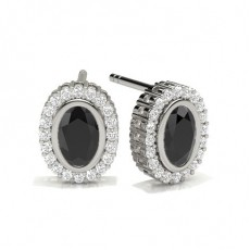 Full Bezel Setting Black Diamond Halo Stud Earrings