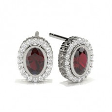 Full Bezel Setting Ruby Halo Earring