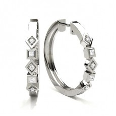 Pave Setting Round Diamond Hoop Earrings