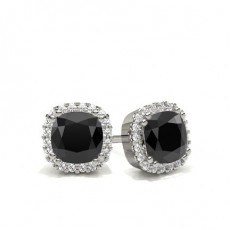 8 Prong Setting Black Diamond Halo Stud Earrings