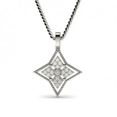 0.15ct. Pave & Prong Setting Round Diamond Delicate Pendant