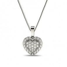 Pave Setting Round Diamond Cluster Pendant