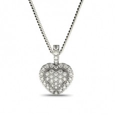4 Prong & Pave Setting Round Diamond Cluster Pendant