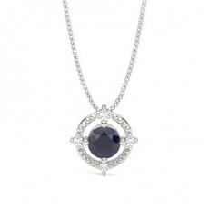 4 Prong Setting Blue Sapphire Designer Pendant