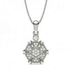 Prong Setting Round Diamond Designer Pendant
