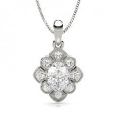 Prong Setting Oval Diamond Designer Pendant