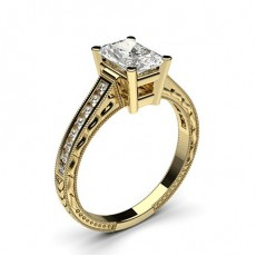 Yellow Gold Radiant Vintage Diamond Engagement Ring
