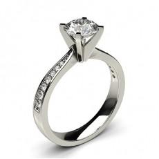 White Gold Round Side Stone Diamond Engagement Ring