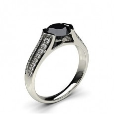 Channel Setting Studded Side Stone Engagement Black Diamond Ring