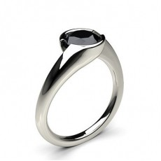 Semi Bezel Setting Plain Engagement Black Diamond Ring