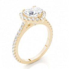 Yellow Gold Heart Halo Diamond Engagement Ring