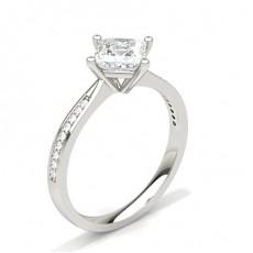 White Gold Princess Side Stone Diamond Engagement Ring