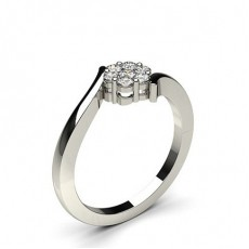 Pressure Setting Round Diamond Cluster Ring