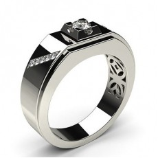 Prong Setting Round Diamond Mens Ring