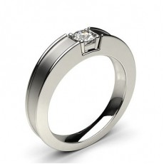 4 Prong Setting Round Diamond Mens Ring