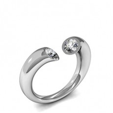 Tension Setting Plain Two Stone Ring