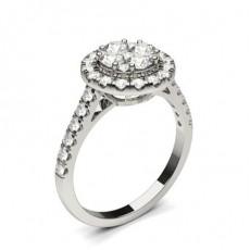White Gold Cluster Diamond Engagement Ring