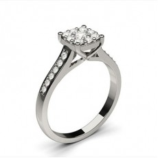 White Gold Cluster Diamond Engagement Ring