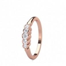 Semi Bezel Setting Plain Five Stone Ring