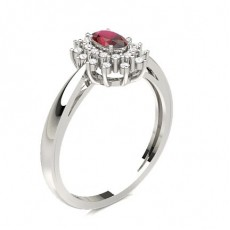 Prong Setting Ruby Halo Engagement Ring