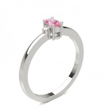 Prong Setting Pink Sapphire Side Stone Ring